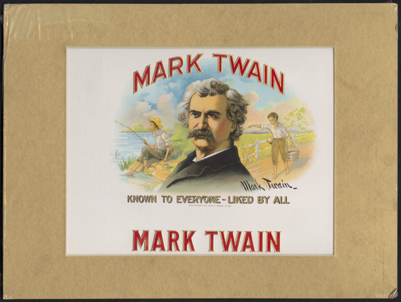 "Mark Twain Cigar Sign. Advertising sign with slogan, ""Mark Twain: Known to Everyone—Liked by All."" Pennsylvania: Wolf Bros., ca. 1913-1930. [zoom]  No evidence links Clemens to the production of Mark Twain Cigars, but his fame and popularity were used to market this product. This advertisement contains some ""stretchers"" as Huck Finn would have called them. Under the phrase ""Known to Everyone - Liked by All"" the Wolf Brothers have added their copyright statement, but the phrase was coined by the author and appeared on handbills to promote Mark Twain lectures in the 1880s. The artwork used for the portrait was based on a photograph taken by Napoleon Sarony in 1893, a photograph that Clemens was not particularly fond of and which he called that ""damned old libel."" The sign also contains a script-like autograph that was not Mark Twain's signature.  From the collection of Susan Jaffe Tane"