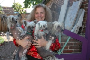 DD LaRue and cresteds at Rocky Mountain Chinese Crested Rescue