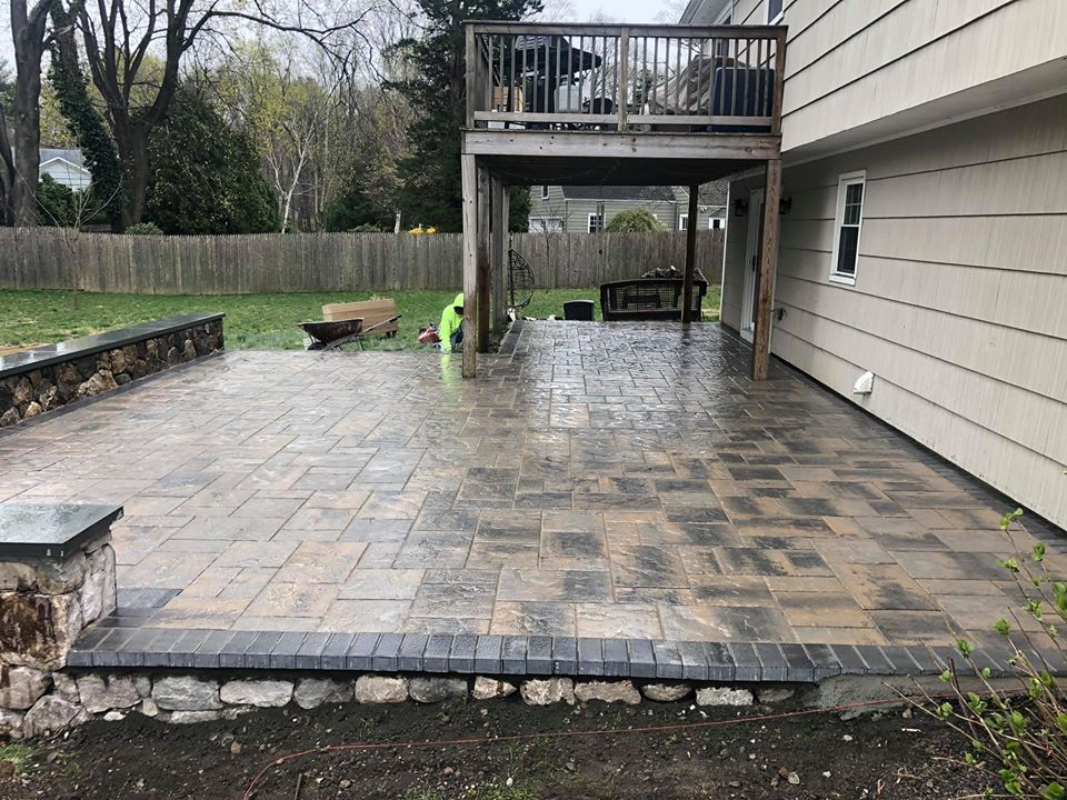 patio paver stone wall construction