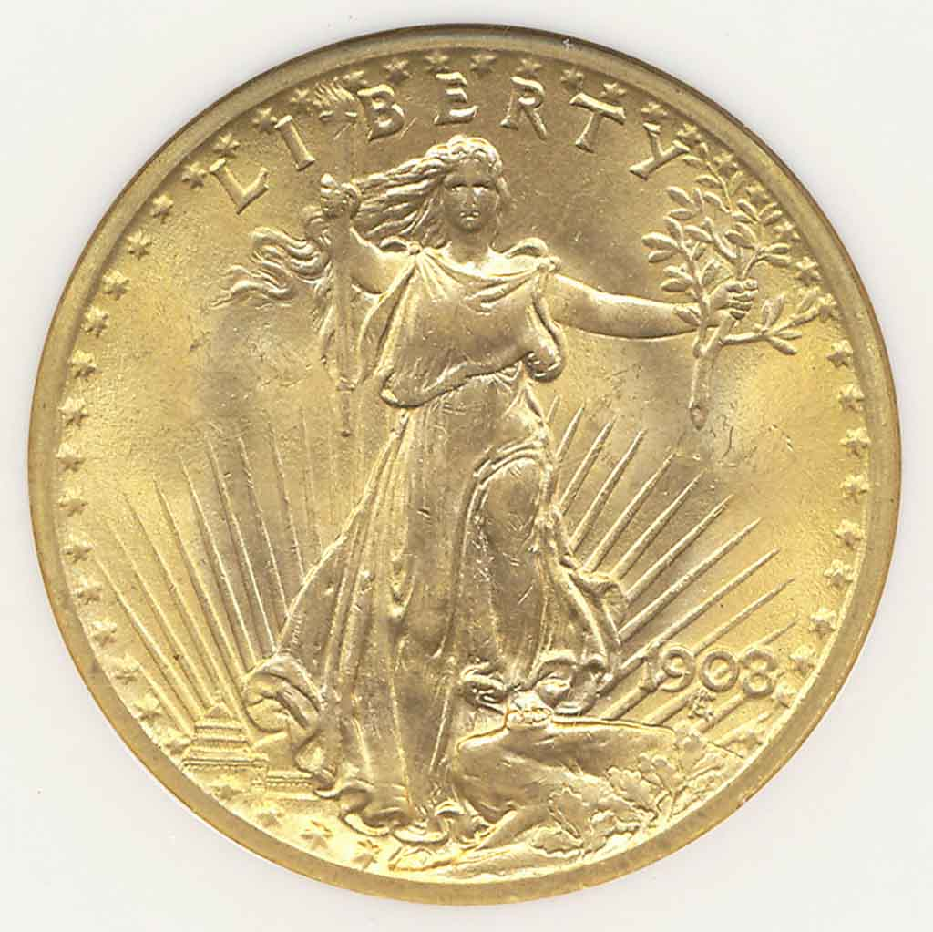 1908NM $20 Wells Fargo Nevada Gold MS 66