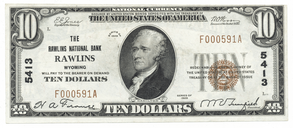$10 The Rawlins National Bank Rawlins, Wyoming Type I Charter #5413