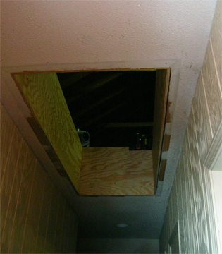 the hole left by where the attic stairs used to be was to be turned into a sort of recessed light box