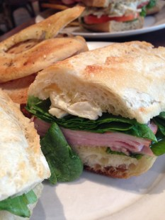 Honey Ham and Brie: Ham & brie on a baguette + olive oil, tomato & basil