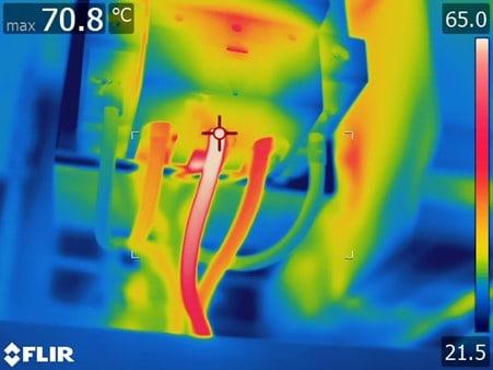 rms flir electrical wires thermal image 70C