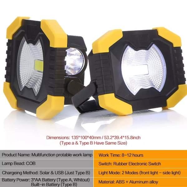 Lampa za kampere (solarna, USB)