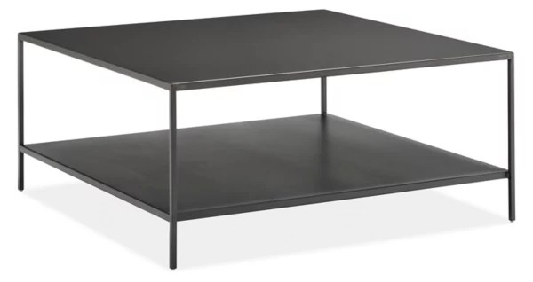 slim 36w 36d 16h square coffee table with shelf
