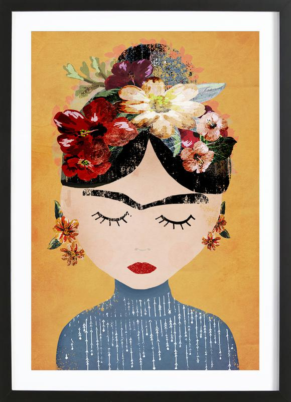 Frida As Poster In Wooden Frame By Treechild JUNIQE UK