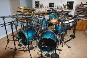 The Drumkit with Mics Set Up