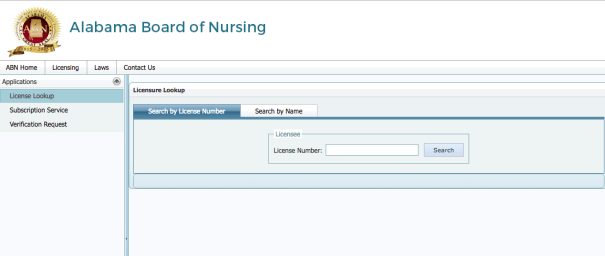 """Alabama board of nursing license lookup"""
