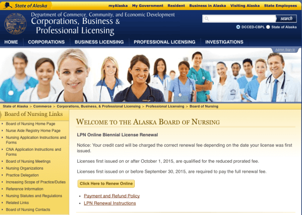 """Alaska board of nursing license lookup"""