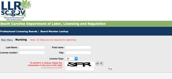 """RN License Verification SC"""