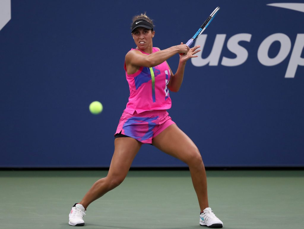 Madison Keys of the United States returns a volley during her Women's Singles second round against Aliona Bolsova of Spain on Day Four of the 2020 US Open at the USTA Billie Jean King National Tennis Center on September 3, 2020 in the Queens borough of New York City.   Matthew Stockman/Getty Images/AFP