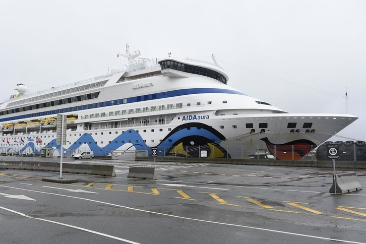 The German cruise ship Aida Aura is pictured on March 3, 2020 at the quay in Haugesund, Norway, pending the answer, whether two quarantineed passengers have been infected with the coronavirus. (Photo by Marit Hommedal / NTB Scanpix / AFP) / Norway OUT