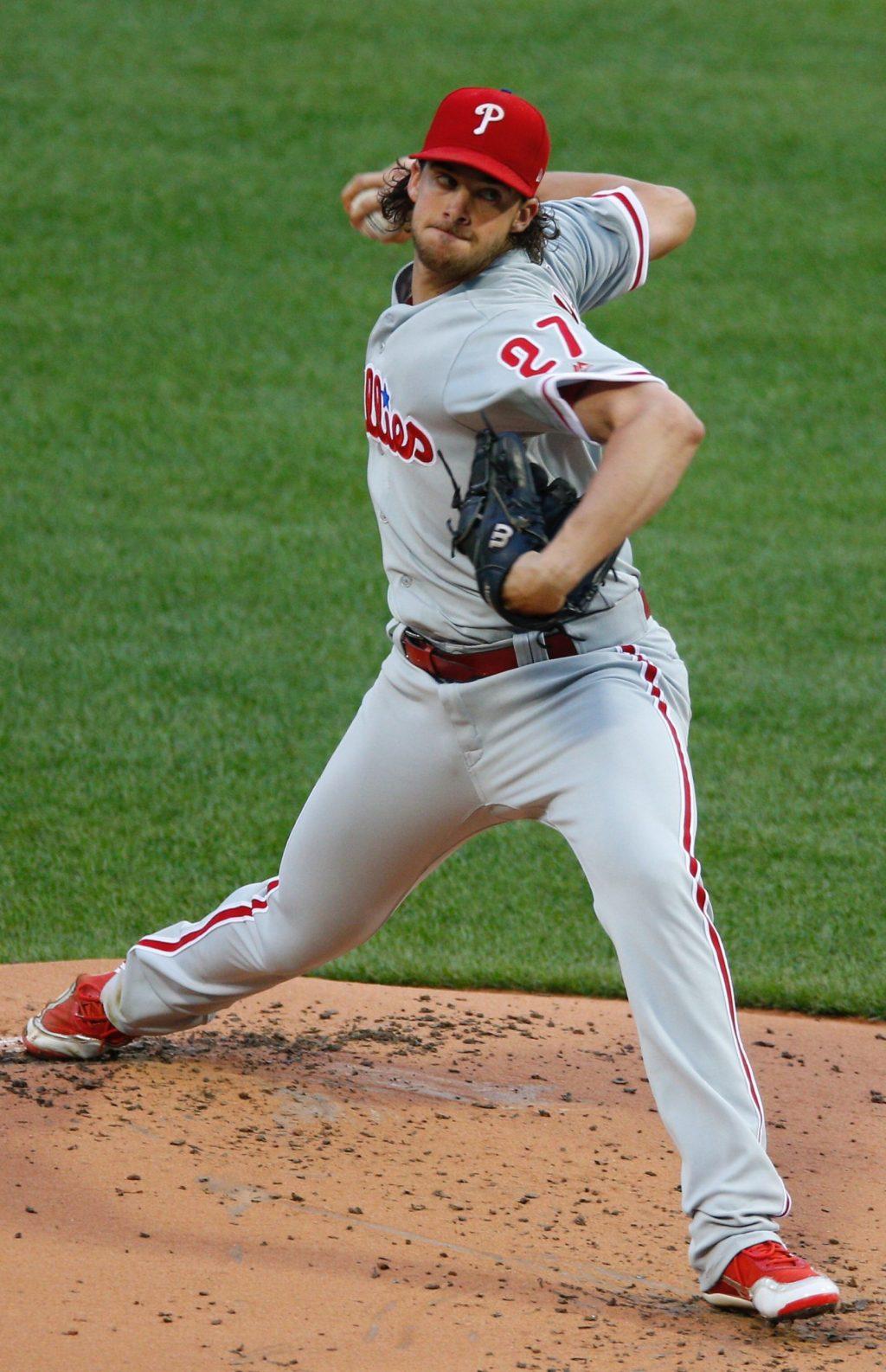 El lanzador derecho de los Filis de Filadelfia, Aaron Nola. EFE/CJ Gunther/Archivo