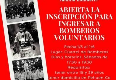 Abierta la inscripción para ingresar a Bomberos Voluntarios PehuenCo.