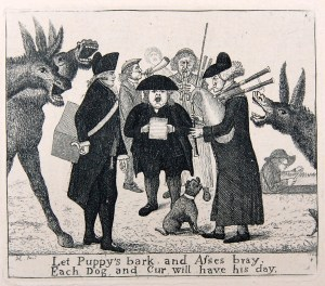 Eighteenth-century cartoon, three musicians stand in a circle. To the left one plays a box instrument, the musician in the middle is singing from a sheet and the musician on the right is playing the bagpipes.