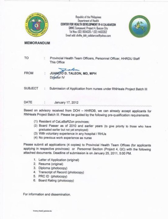 Memorandum date January 17,2011 issued by Dr. Juanito D. Taleon,Regional Director IV for Calabarzon