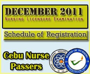 Cebu Nurse Passers of December 2011 NLE- Registration Schedule