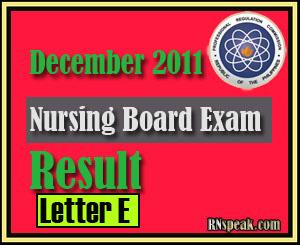Letter E December 2011 Nursing Board Exam