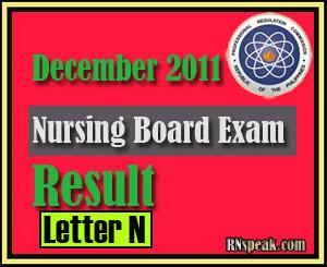 Letter N December 2011 Nursing Board Exam