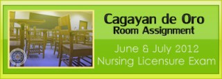 Cagayan de Oro  room assignment June and July 2012 NLE