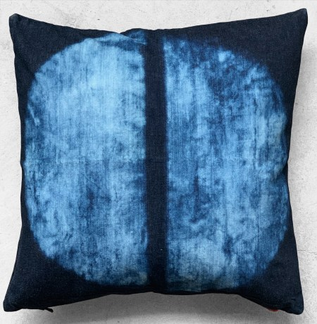 "16""X16"" throw pillow is one of a kind hand crafted and painted on indigo denim with pop color zipper."