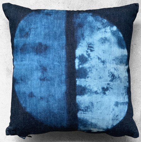 """16""""X16"""" throw pillow is one of a kind hand crafted and painted on indigo denim with pop color zipper."""
