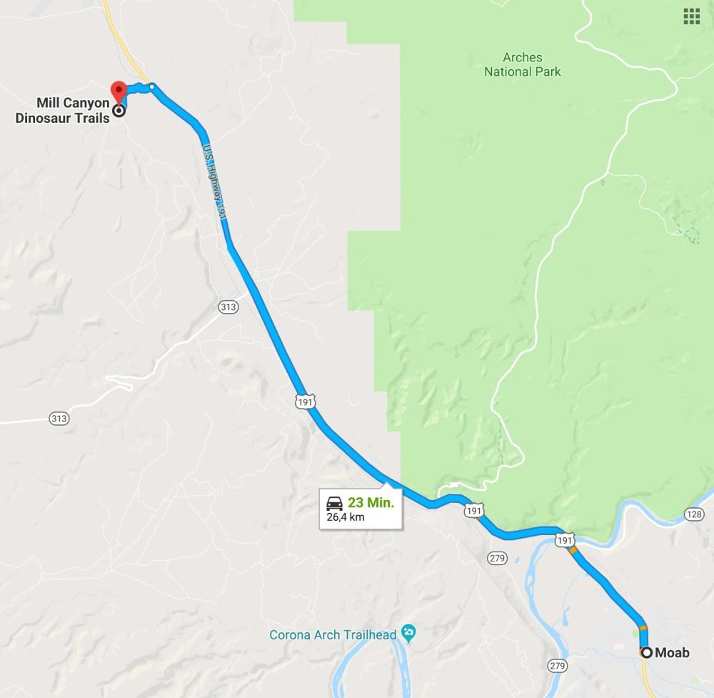 Anfahrt zum Parkplatz der Mill Canyon Dinosaur Trails