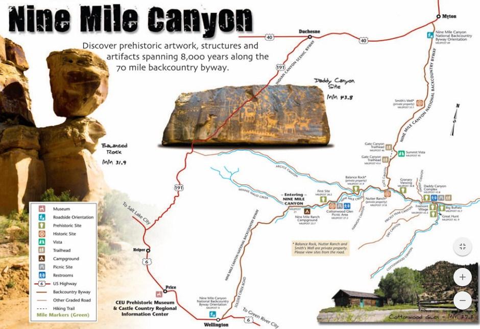 Karte des 9 Mile Canyon mit Startpunkt in Wellington, Utah