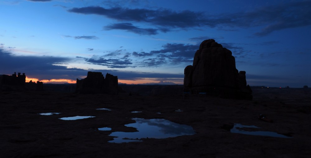 Arches National Park Sonnenuntergang beim La Sal Mountains Viewpoint
