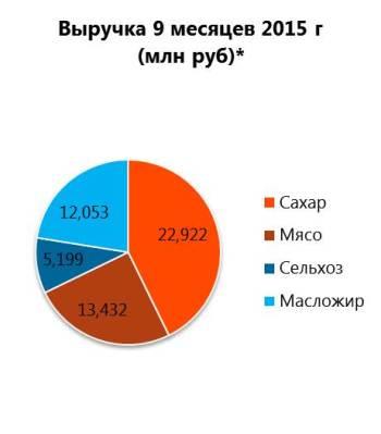 Выручка Русагро за 9 месяцев 2015 г