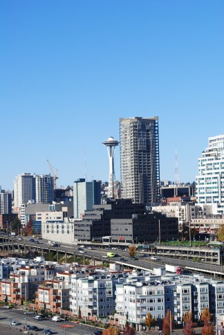 View of Space Needle from Ferris wheel