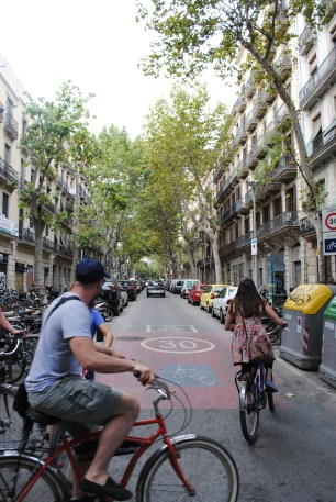 Riding the streets of Barcelona with the Fat Tire tour group