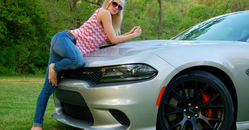 Model Jess Colton with the 2015 Dodge Charger SRT Hellcat