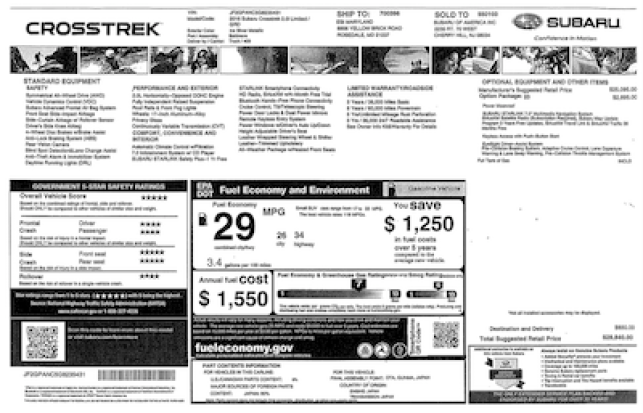 2016 Subaru Crosstrek Price Window Sticker