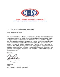 Notification letter for 2018 Dodge Challenger SRT Demon from National Hot Rod Association.
