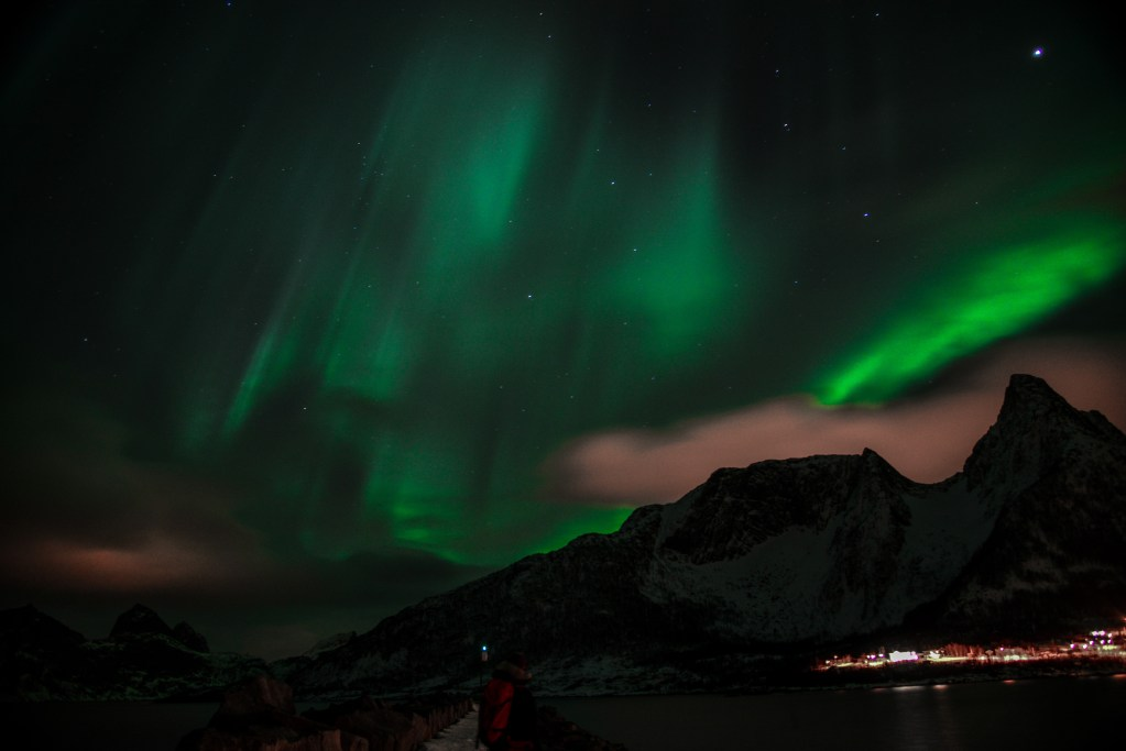 Northern Lights Dancing over Mefjord Brygge, Senja, Norway