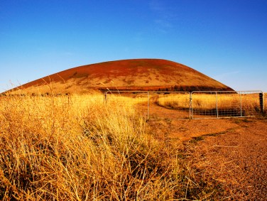 'Elephant Mountain' and surrounding bushland is scorched by the summer sun and relentless drought. VIC, Australia.