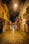 The cobblestone illuminated streets