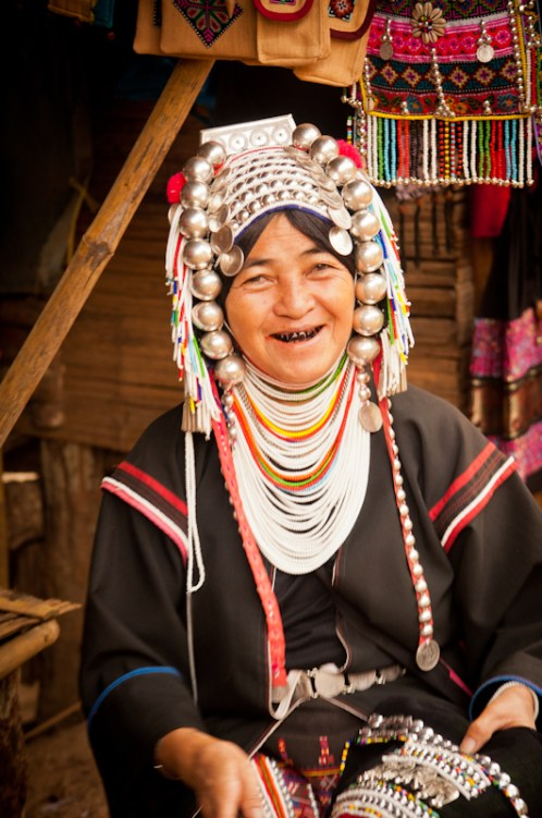 A smile and stained teeth from chewing Areca nut. Chiang Mai, Thailand.