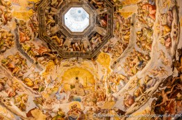 The fresco painted inside the giant dome. It depicts the levels of heaven and hell from top to bottom. Florence, Italy