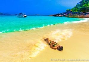 Jen soaks in some sun in the Similan Islands, Thailand