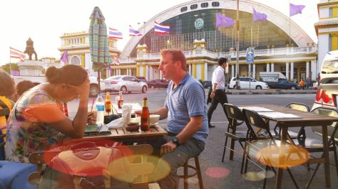 Eating in the street opposite the train station