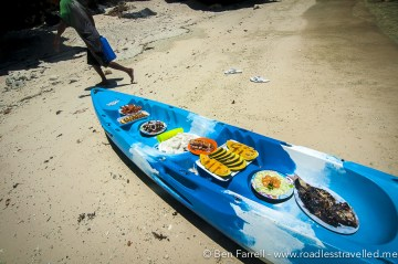 Our fresh seafood lunch, floated over to our private beach with Northern Hope Tours.