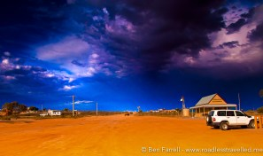 A violent storm approaches in the Australian Outback.