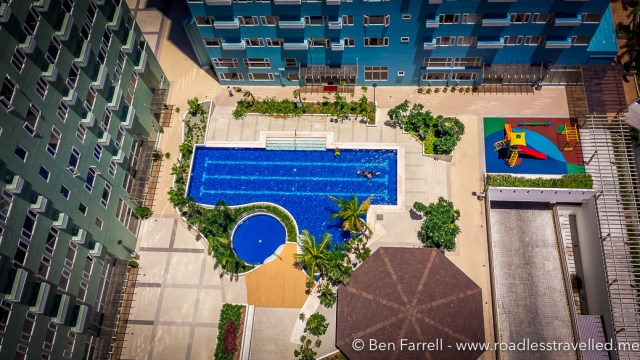 Typical Manila living is in Condos with a pool that's always empty during the day... No one wants to get a tan in the Philippines!