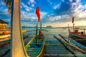 Boats at rest on Taal Lake in Batangas, Philippines