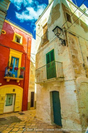 Coloured homes in Polignano a Mare, Italy