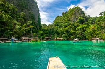 Sailing into a hidden bay, Coron, Philippines