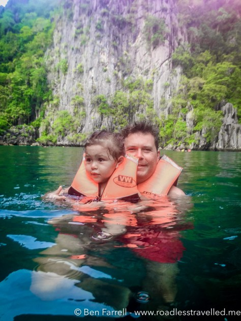 Lilly & I swimming in the Twin Lagoon